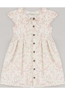 Vestido Infantil Estampado Floral Com Linho E Botões Manga Curta Off White