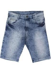 Bermuda Jeans Besni Marmorizada Masculina - Masculino-Azul+Off White
