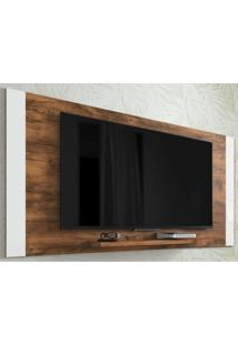 Painel Para Tv Até 55 Polegadas Jundiaí Premium Clássico Caemmun Jatobá/Branco
