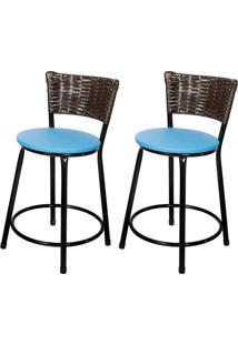 Banquetas Baixa Para Cozinha Hawai Café 2Un Assento Azul