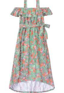 Vestido Verde Longo Floral