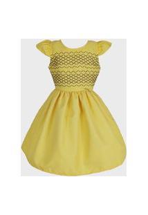 Vestido Katitus Infantil Liso Amarelo Com Preto