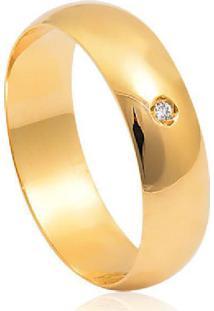 Aliança De Ouro 18K Reta Abaulada Com Diamante