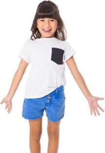 Camiseta Infantil Bolso Contraste Reserva Mini Feminina - Feminino-Branco