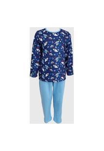 Conjunto Pijama Menino Infantil Katitus Tubarão Azul