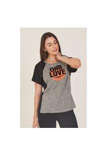 Camiseta Onbongo Feminina Raglan Cinza Mescla