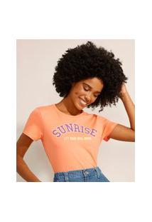 """Camiseta De Algodão """"Sunrise"""" Manga Curta Decote Redondo Coral"""