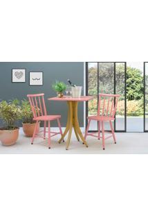 Conjunto Mesa Bistrô Quadrada Com 2 Cadeiras Juliette - Amêndoa E Rosa Coral