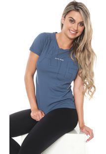 Camiseta Alto Giro Recortes Azul
