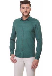 Camisa Fit Zaiko Tingimento Manga Longa 1916 Verde