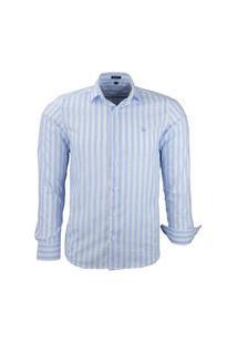 Camisa Amil Ipanema Listrada Comfort Manga Longa Azul Bebe