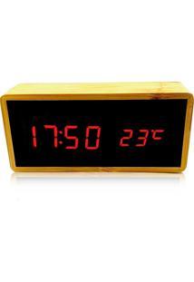 Relógio De Mesa Despertador Termômetro Madeira Led Amarelo