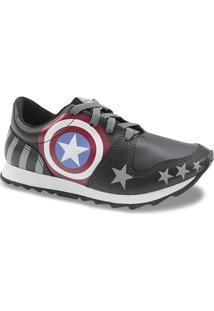 Tênis Infantil Personagens Capitão America - Masculino-Preto 29e4bb6272304