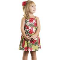 Vestido floral infantil verde