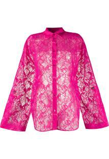 Msgm Camisa Translúcida Com Renda Floral - Rosa
