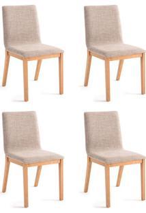 Conjunto Com 4 Cadeiras De Jantar Bogor Dourado E Carvalho