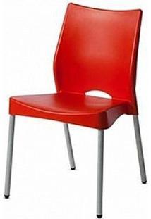 Cadeira Malba Base Fixa Pintada Cinza Cor Vermelho