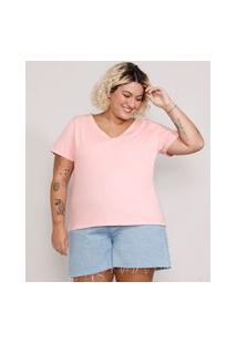 Camiseta Plus Size Feminina Manga Curta Decote V Rosa Claro