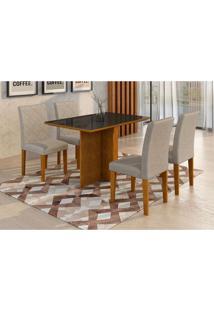 Conjunto De Mesa De Jantar Com 4 Cadeiras Ane Suede Imbuia E Preto