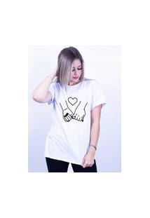 Camiseta Corte A Fio Bilhan Mãos Dadas Gde Branca