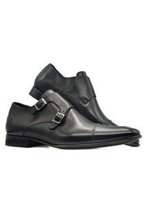 Sapato Social Masculino Double Monk Strap Fino Couro Fivela Mod 521 Preto