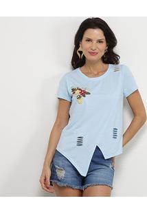 Camiseta Pérola Recorte Aplique Manga Curta Feminina - Feminino-Azul