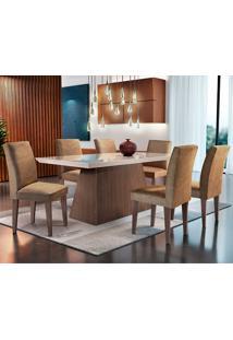 Conjunto De Mesa Luna Com 6 Cadeiras Grécia-Rufato - Animalle Chocolate / Off White / Café / Serig Off White