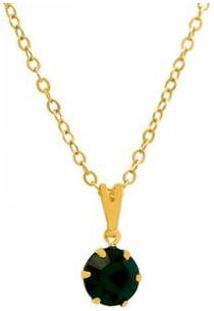 Gargantilha Horus Import Ponto De Luz Banhada Ouro 18K Feminina - Feminino-Dourado