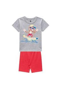 Pijama Infantil Menino Camiseta E Bermuda Cheirinho De Infância Cinza-3