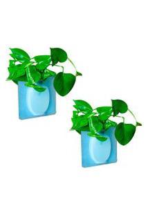 Kit Com 2 Vasos Adesivos De Silicone Para Parede Flor Planta Decoraçáo