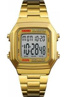 Relógio Unissex Skmei Digital Masculino - Masculino-Dourado