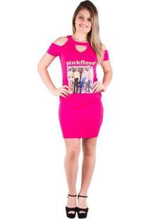 Vestido Blusão Com Estampa - Banna Hanna - Feminino-Pink