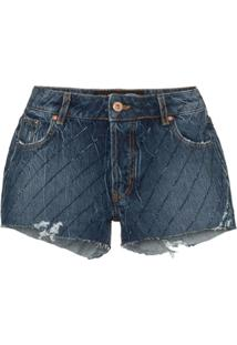 Filles A Papa Crystal-Embellished Cut-Off Denim Shorts - Azul
