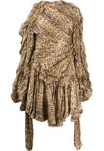 Zimmermann Vestido Assimétrico Animal Print - Marrom