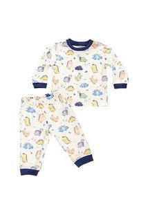Pijama Longo Masculino Estampado Em Suedine - Anjos Baby Azul Marinho