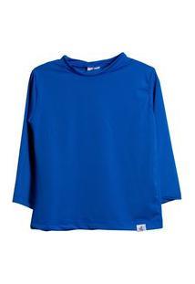 Camisa Infantil Peixinho Dourado Filtro Uv50 Azul Caneta