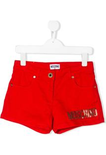 Moschino Kids Short Com Logo De Paetês - Vermelho