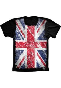 Camiseta Baby Look Lu Geek Flag England Preto