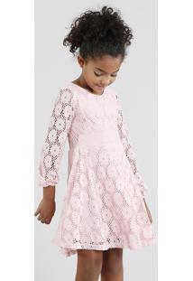 Vestido Infantil Em Renda Manga Longa Rosa