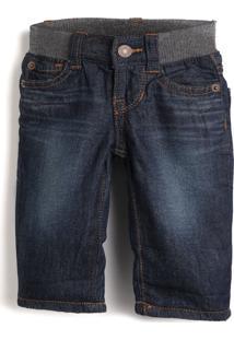 Calça Jeans Gap Infantil Estonada Azul-Marinho