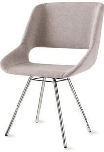 Cadeira Dife Assento Estofado Rustico Cru Base Cromada - 55880 Sun House