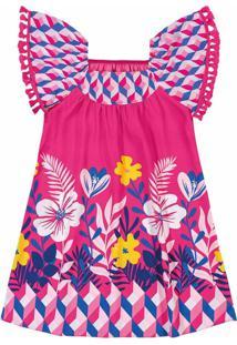 Vestido Cetim Estampado Nanai Pink