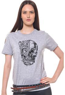 Camiseta Joss Estampada Feminina Caveira Duas Caras Cinza Mescla