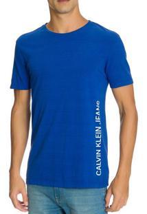 Camiseta Ckj Mc Est Logo Lateral - Azul Médio - Pp