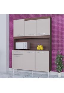 Cozinha Compacta 6 Portas 1 Gaveta Kit Carine 466 Capuccino/Off White - Poquema
