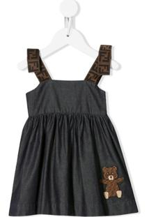 Fendi Kids Vestido Jeans Com Estampa Do Urso Teddy - Azul