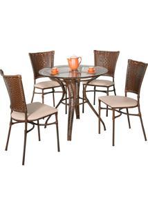Conjunto Mesa Com 4 Cadeiras Miranda - Metal Do Brasil - Avela Envelhecido