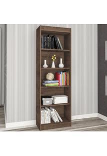 Estante Para Livros Sapiranga 4 Prateleiras Mocaccino Rústico - Atualle Móveis