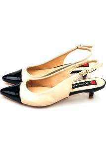 Scarpin Salto Baixo Love Shoes Chanel Captoe Preto