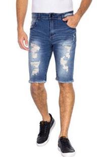 Bermuda Slim Jeans Masculina - Masculino-Azul